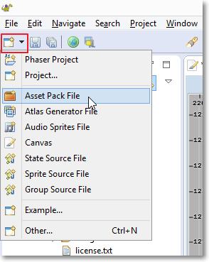 Asset pack file menu
