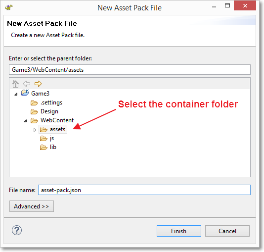 Asset pack dialog