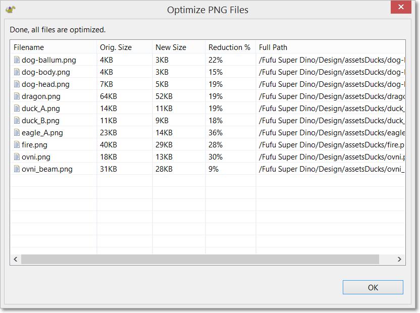 Optimization progress dialog