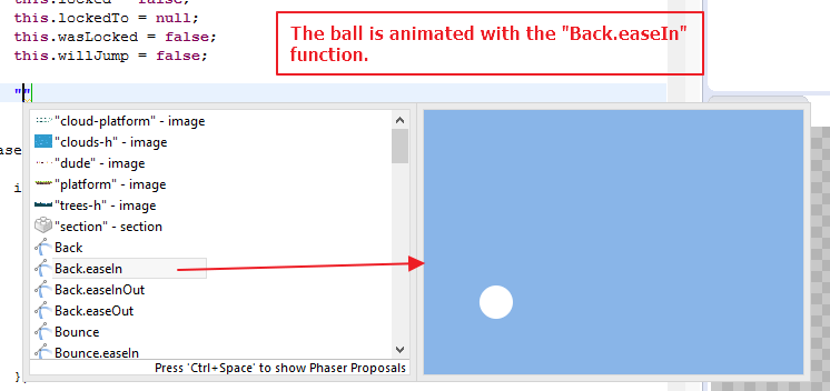 JavaScript editor shows easing animation