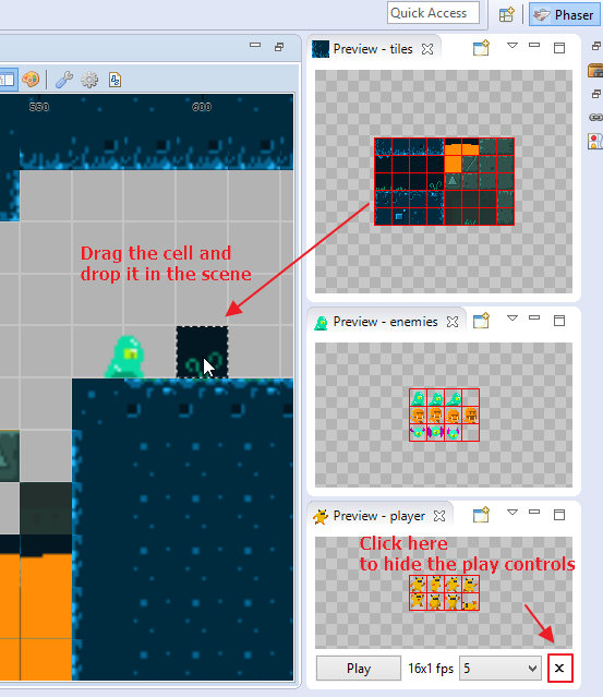 Drop sprites from spritesheet preview window