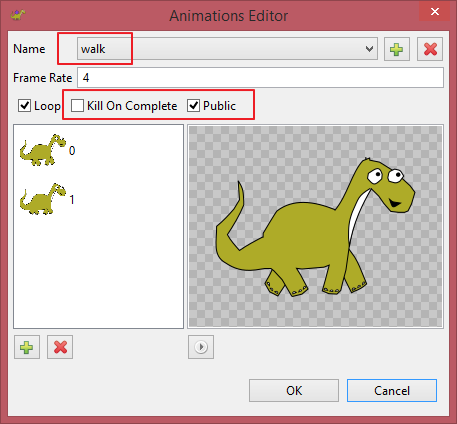 Animations editor new fields