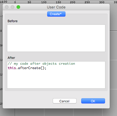 User Code dialog