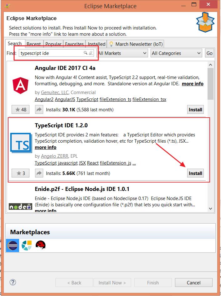 TypeScipt IDE on Marketplace