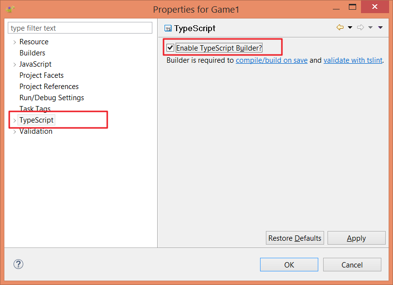 Enable TypeScript builder