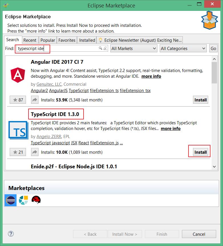 TypeScript IDE in marketplace