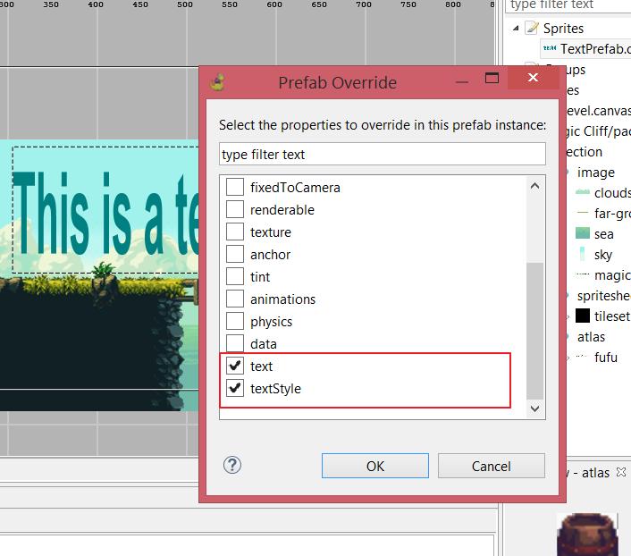Override text properties