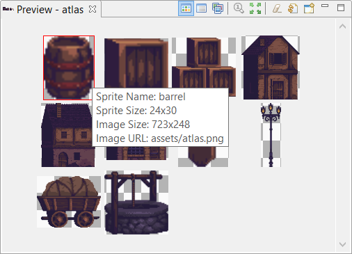 Atlas preview, sorted sprites