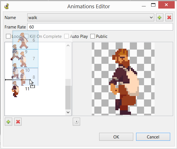 Animations dialog: select multiple frames